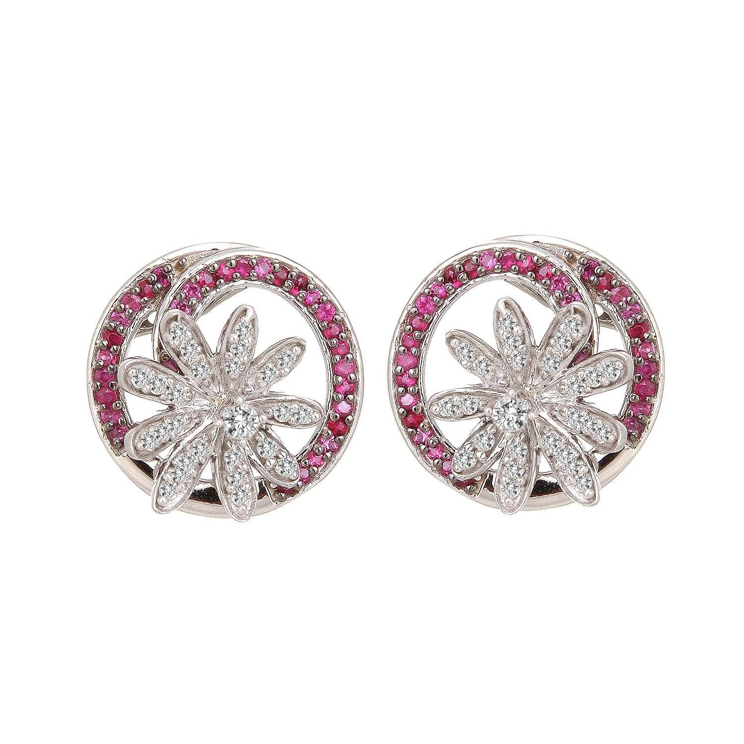 Buy Ruby and Diamond Tanishq Earrings At Best Price Online India ...