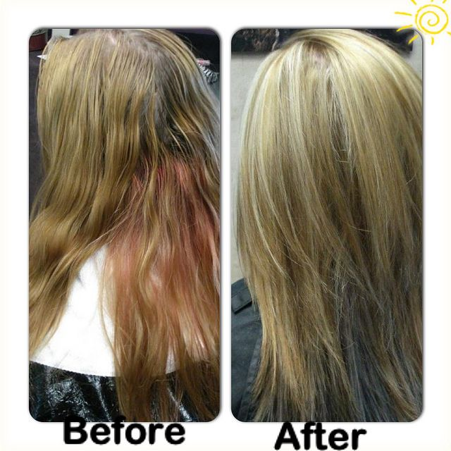 Correcting This Half Pink Gold Hair Color Alternated Slices Of Kenra 6b 10vol 7aa And Lightener