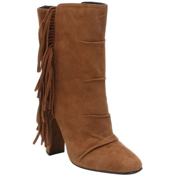 Giuseppe Zanotti Brown suede fringed 'Alabama' ankle boots ($455) ❤ liked on Polyvore featuring shoes, boots and ankle booties