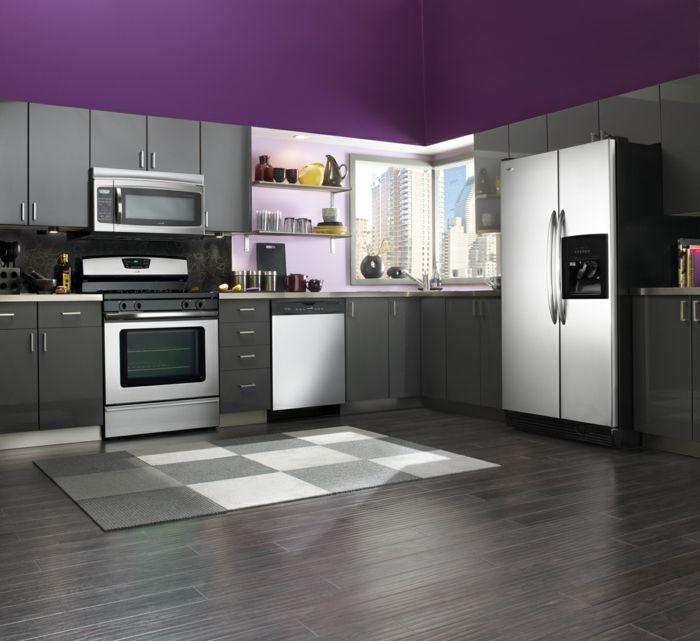 Wände Streichen Ideen Küche Lila Wandfarbe Graue Küchenschränke Eleganter  Teppich