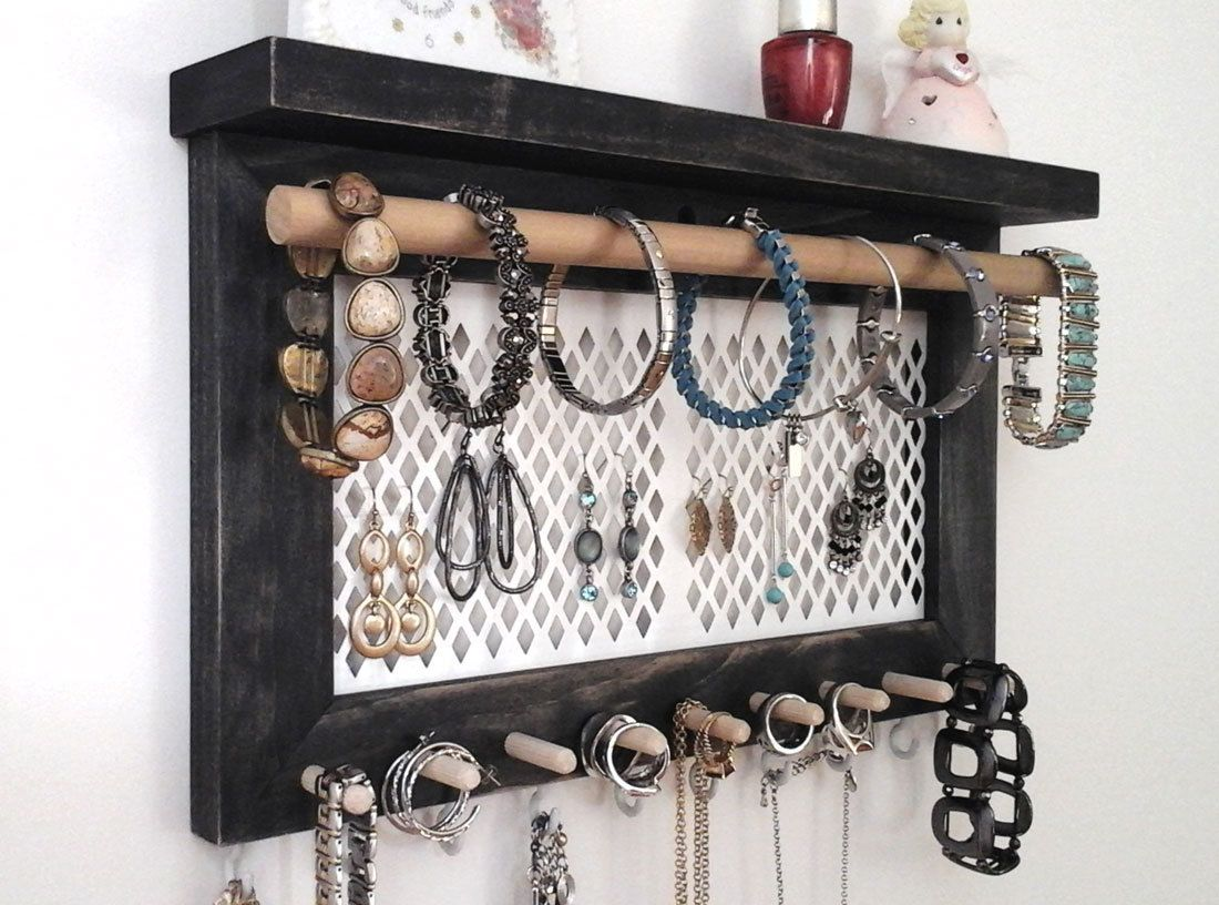Wall Mount Jewelry Organizer Part - 44: Jewelry Organizer Wall Hanging Necklace Holder, Earring Holder, Bracelet  Ring Holder. Wall Mount