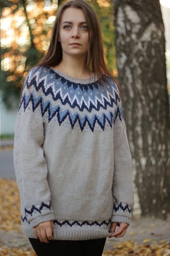 d51954c54 Fair Isle Lopapeysa Icelandic Knit Grey Women Sweater Handmade 100 ...