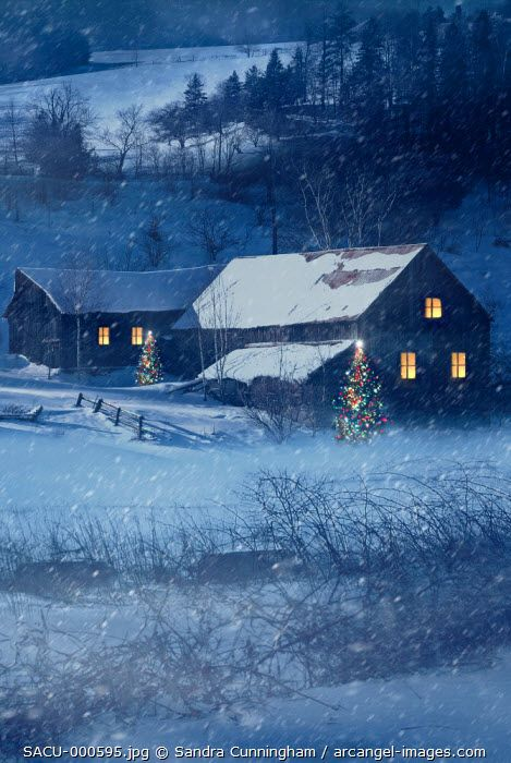 www.arcangel.com - winter-snow-scene-of-a-farmhouse-at-night