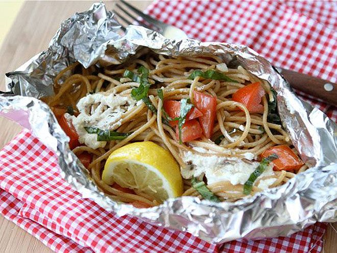 How to Grill Everything – Yes, Everything | PASTA | The secret to this yummy dish is undercooking the spaghetti by a couple of minutes so it's slightly al dente before going on the heat with the other ingredients.