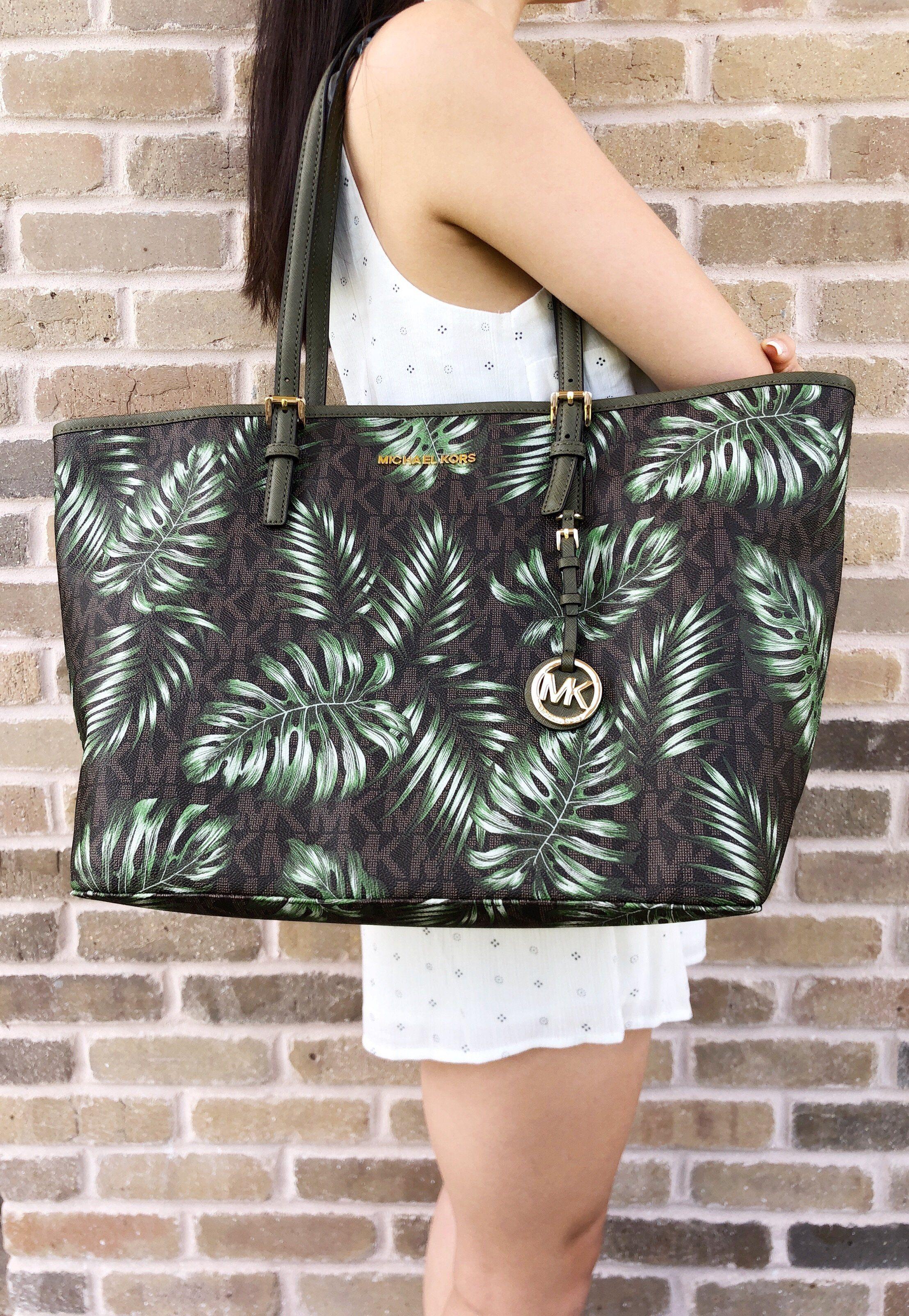 76894be88b22a7 Michael Kors Jet Set Travel Large Carryall Tote Brown MK Olive Green Palm  Leaves #MK #ebayseller #ebayreseller #poshmark #ebaycommunity #tradesy ...