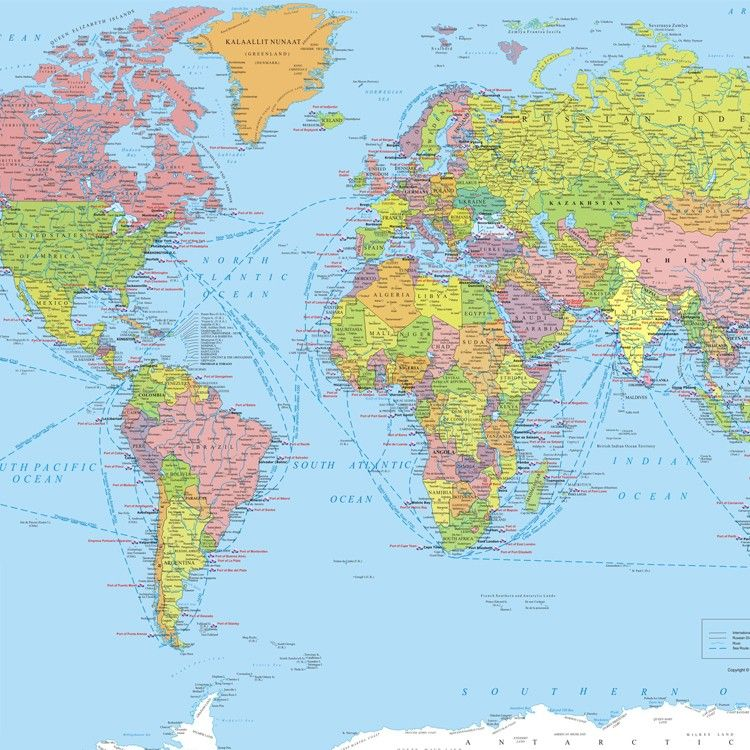Buy World Port And Shipping Routes Map Digital Map Route Map