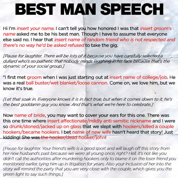 Funnyordie Template For Any Best Man Speech Wedding Season Is Upon Us And If You Re A Best Man We Ve Best Man Speech Funny Wedding Speeches Wedding Speech