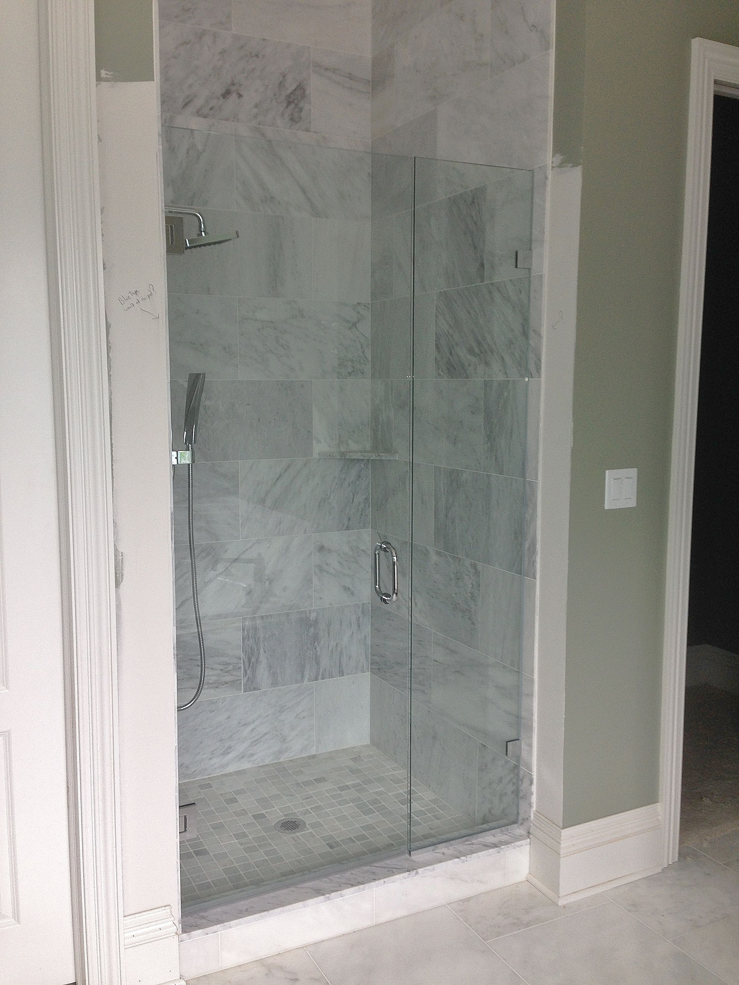Frameless Shower Enclosure: Door + Panel with Wall-Mounted Clips ...