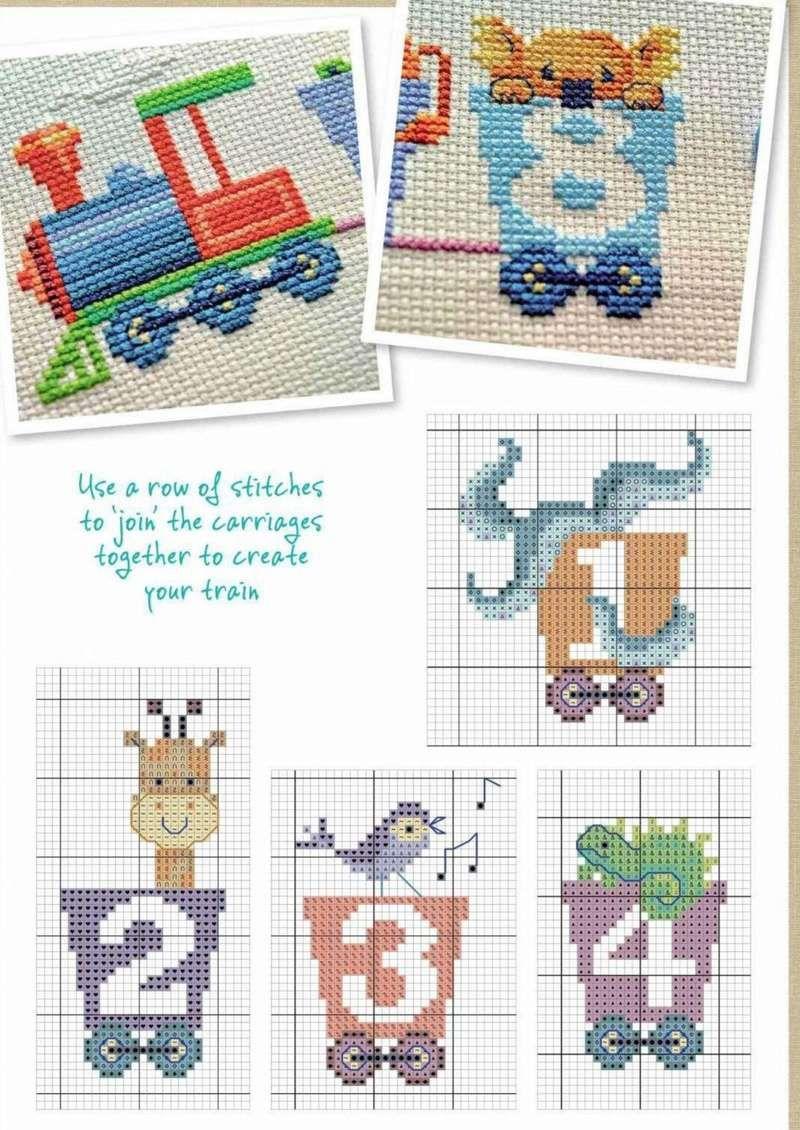 TREN - Letras y números | Bebés punto de cruz | Pinterest | Tren ...