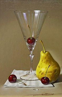 Cuadros jarrones y copas de cristal frutas y bodegones for Frutas de cristal