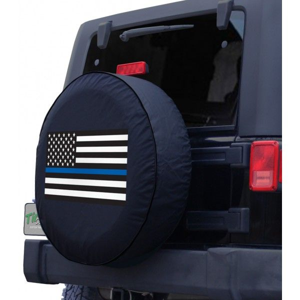 American Flag Police Blue Line Jeep Side View Tire Cover Spare