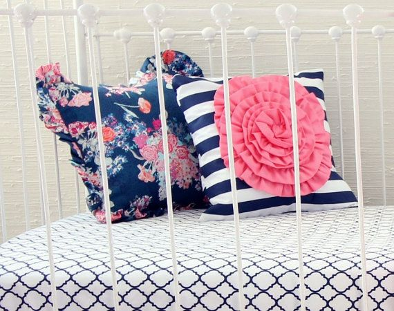 Hot Pink And Navy Baby Girl Bedding Custom Crib Bedding Navy And