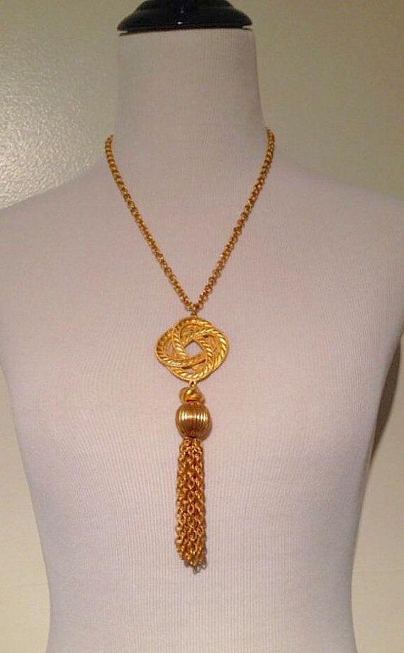 Vintage Gold Tone Tassel Fringe Celtic Knot by VintagePolice4U