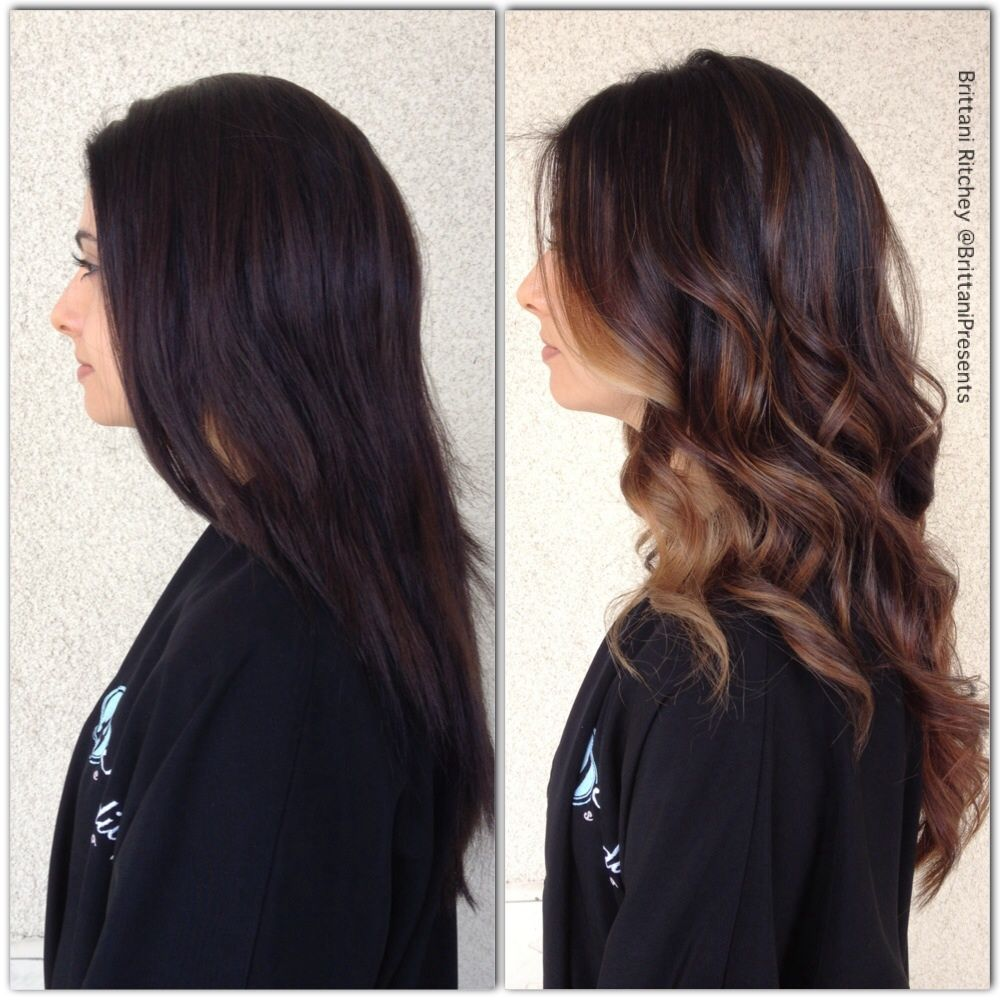 Warm Chocolate Brown With Soft Carmel Highlights Before