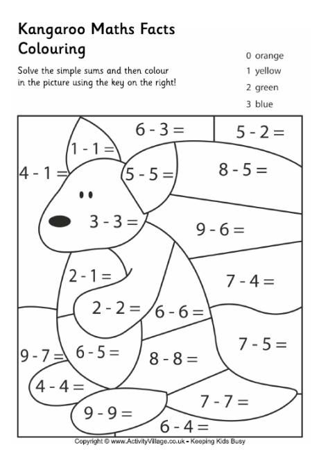 Kangaroo Maths Facts Colouring Page
