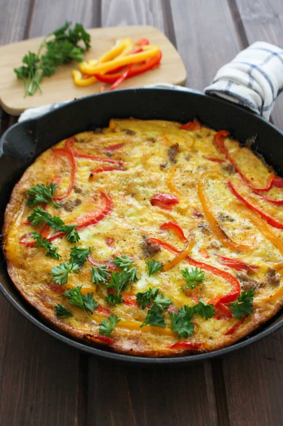 Sausage and Pepper Frittata (Paleo) | Frugal Nutrition #baconfrittata