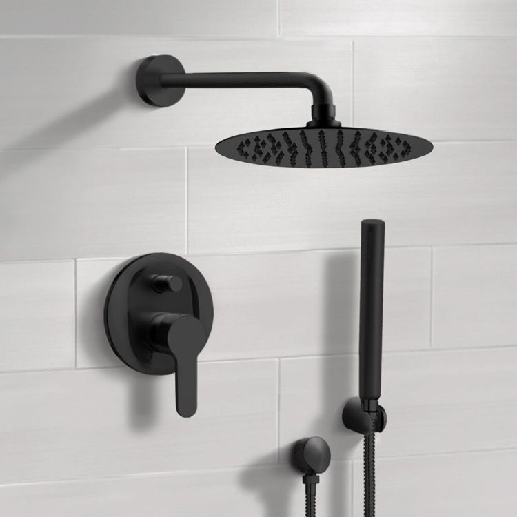 Matte Black Shower System With Rain Shower Head And Hand Shower In