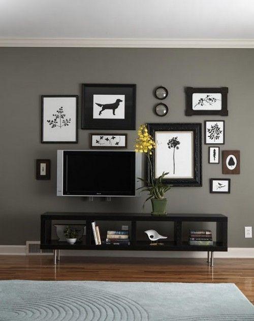 Fotowand-gestalten-schwarze-rahmen Moments Pinterest - wohnzimmer grau gestalten