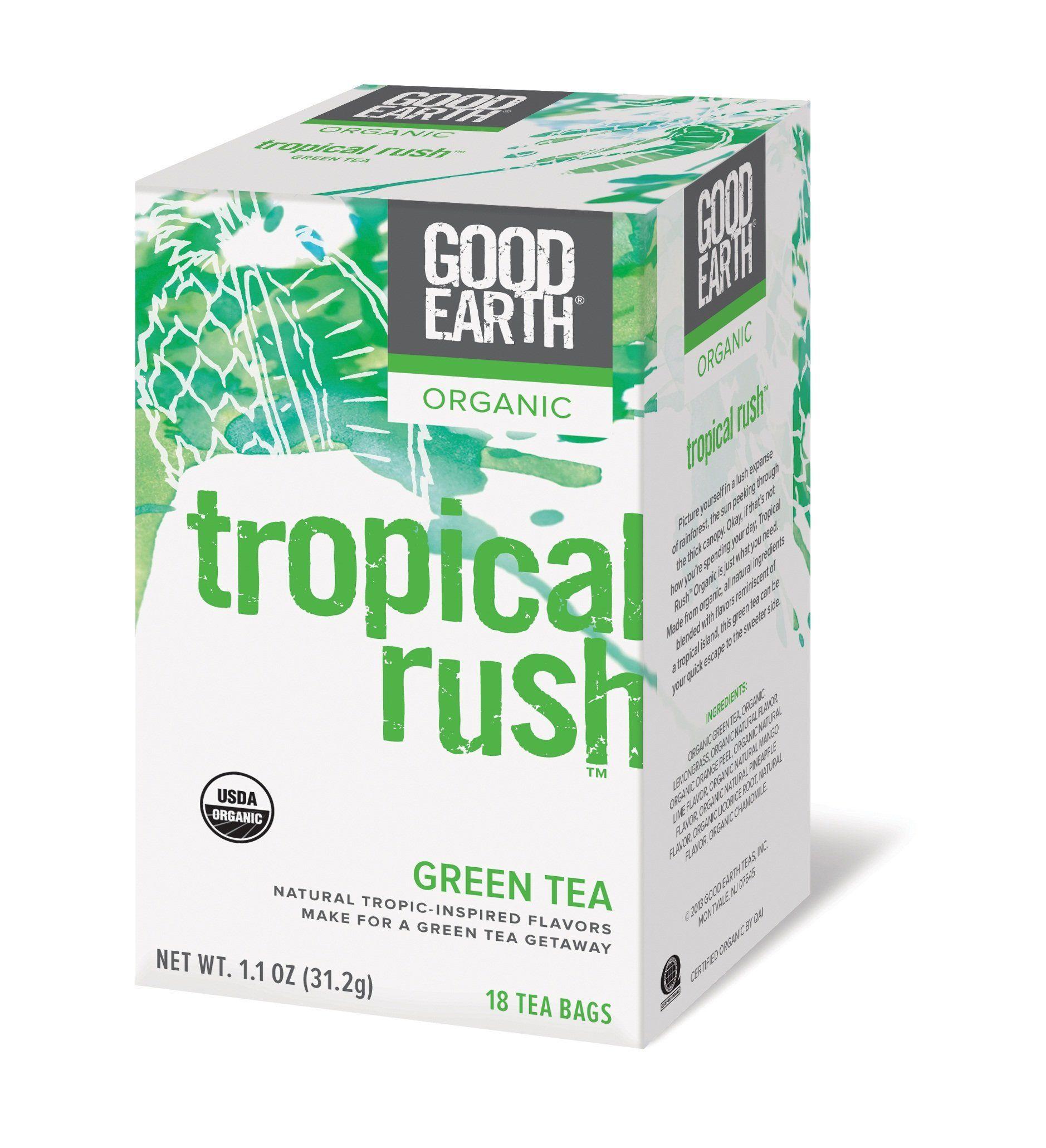 Good Earth Organic Tropical Rush Green Tea, 18 Count Tea Bags (Pack of 6)