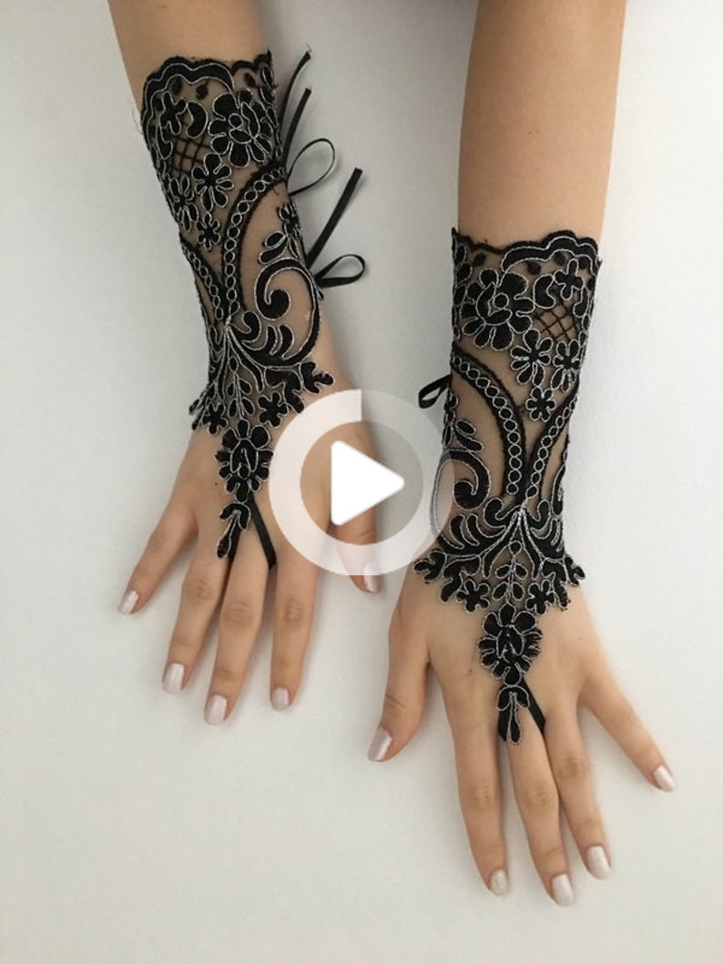 Black Silver Beaded Lace Gloves Goth Wedding Steampunk Goth Lace Gloves Bridal Gloves Party In 2020 Lace Gloves Bridal Gloves Beaded Lace