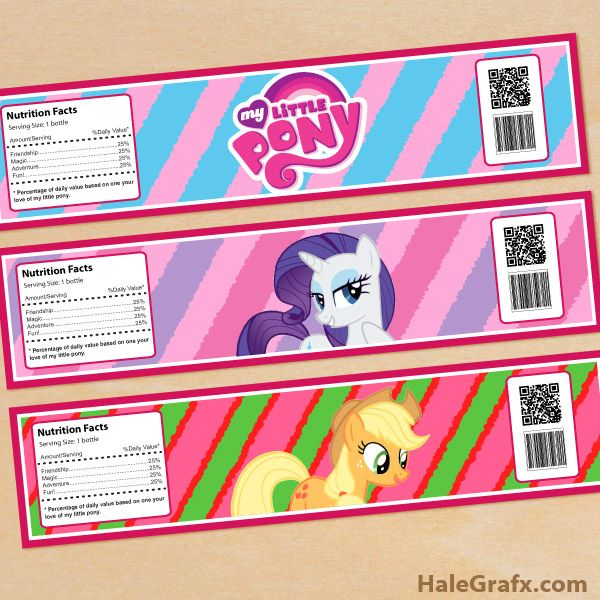click here to download free printable my little pony water bottle labels