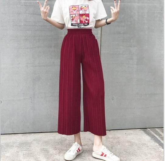 Spring and Summer High Waist Was Thin Casual Loose Pants Korean Yards Chiffon Pressure Pleated Wide Leg Pants 3