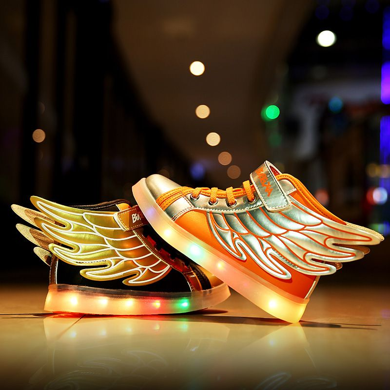 Cool 2017 Fashion Wings Patchwork Children Sneakers Gold Black Sequined Kids  Light Shoes High Top Boy Girl Luminous Led Shoes d6e4b17604cd