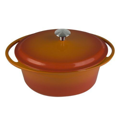 Artland La Maison Cast Iron Oval Casserole Dish 7 Quart Orange