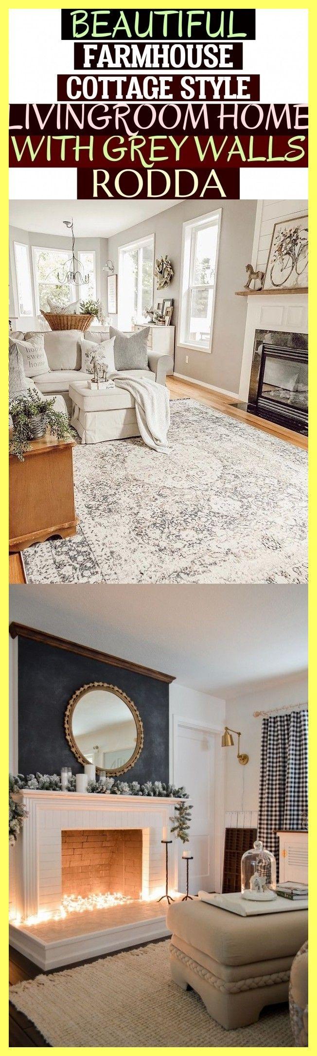 schönes bauernhaus-häuschen-art-wohnzimmer-haus mit gray walls rodda - Beautiful Farmhouse Cottage Style Livingroom Home With Grey Walls Rodda