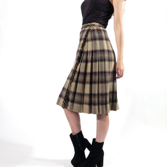 Vintage Brown Shadow Plaid Checkered Pleated Accordion Midi Skirt / Kilt Size S Made in Italy