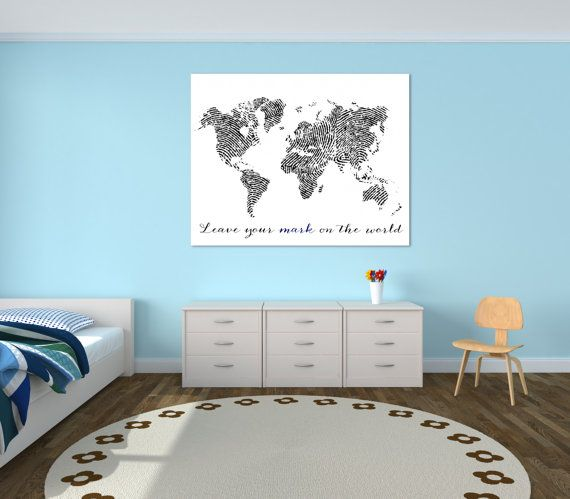 Fingerprint World Map Canvas Print Leave Your Mark By BySamantha - World map to mark travels