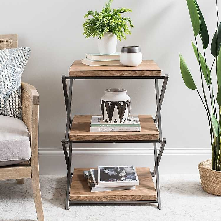 Wood And Metal X Base 3 Tier Side Table Side Table Decor Side Table Wood Side Table