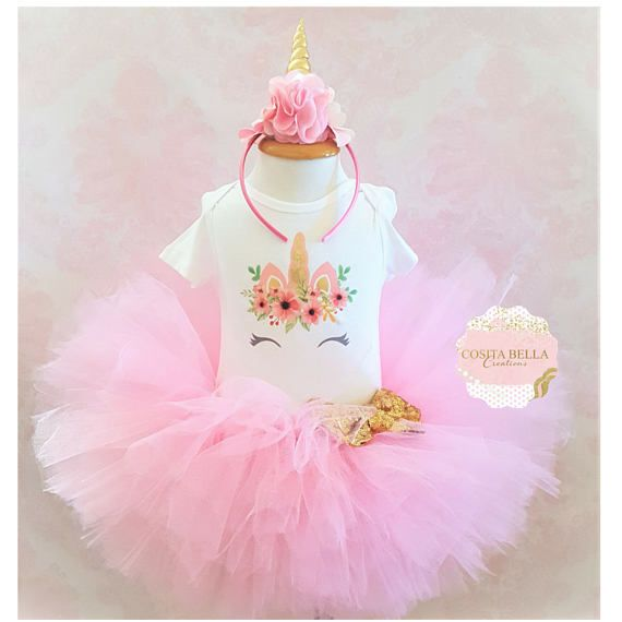 Girls Pink And Gold Stars First Birthday Tutu Outfit With Matching Headband