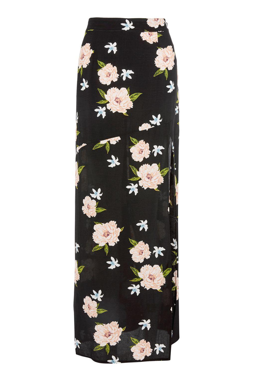 72ca13d9f5 Black Split Floral Print Maxi Skirt - Skirts - Clothing - Topshop Europe