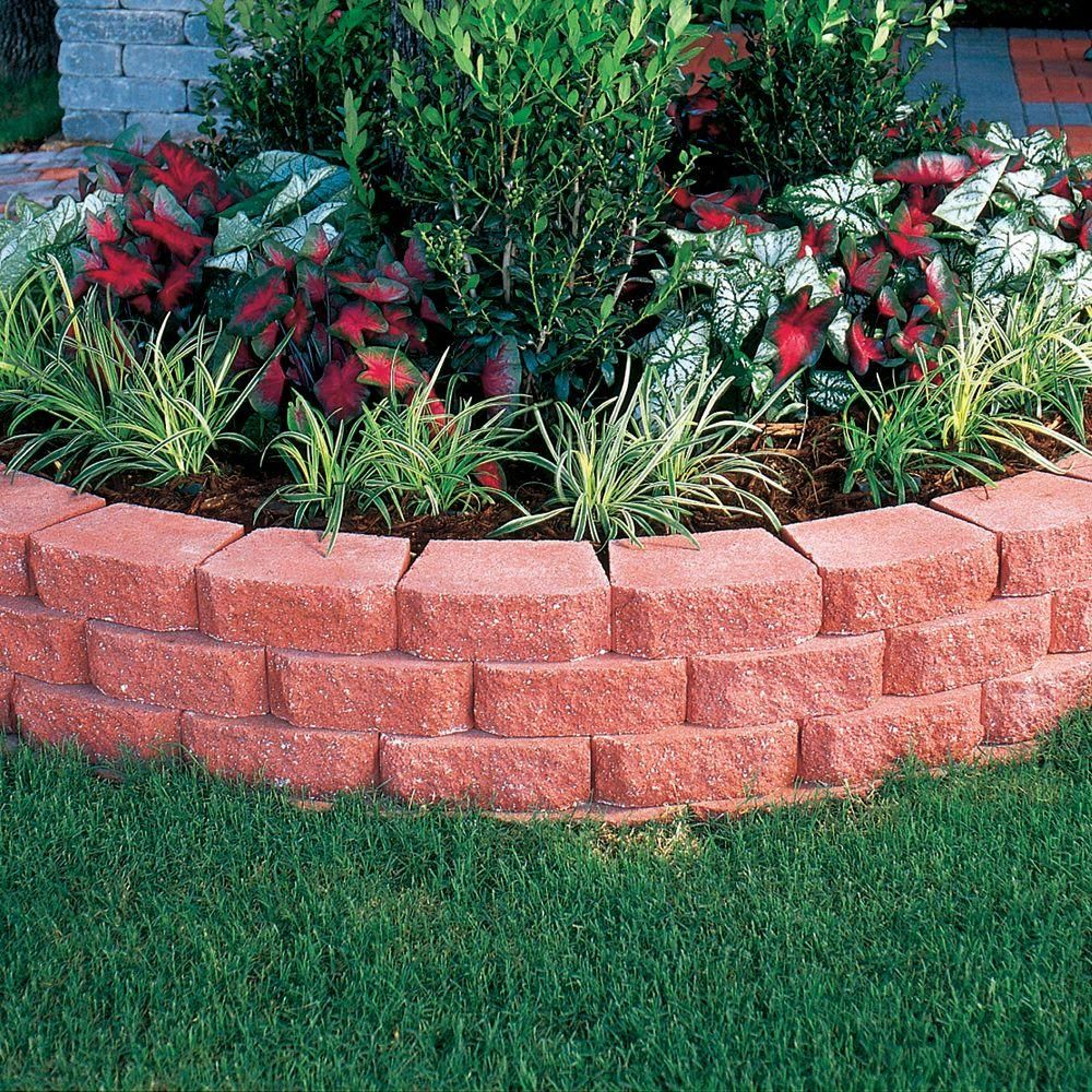 Pavestone 4 In X 11 75 In X 6 75 In River Red Concrete Retaining Wall Block 81151 The Home Depot In 2020 Front Yard Landscaping Design Front House Landscaping Brick Garden