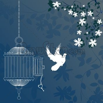 A Tone On Tone Wallpaper In A Beautiful Blue Color Sweet Bird And Flowers Bird Painting Diy Birds Flying Bird Cage