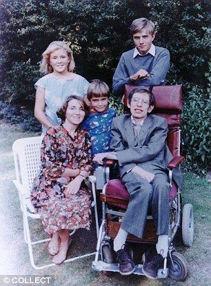 Close bonds: Stephen Hawking with his first wife Jane and children, from left, Lucy, Tim and Robert