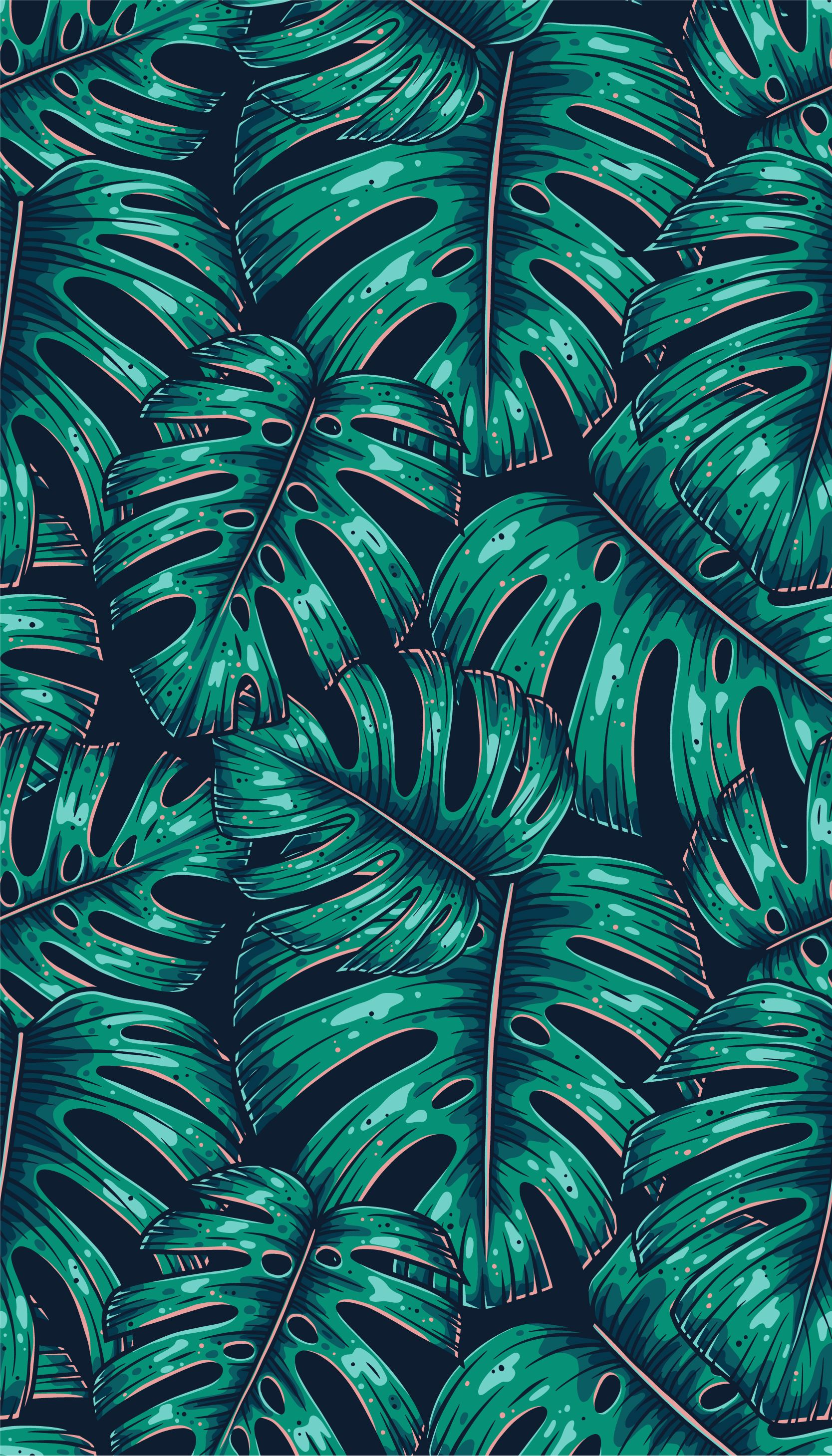 Seamless vector pattern of tropical leaf monstera