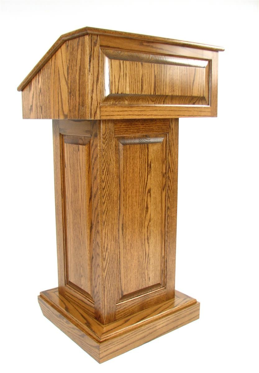 """26-1/2"""" Wood Podium with Wheels, Convertible Design for Floor or Table - Dark Stain"""