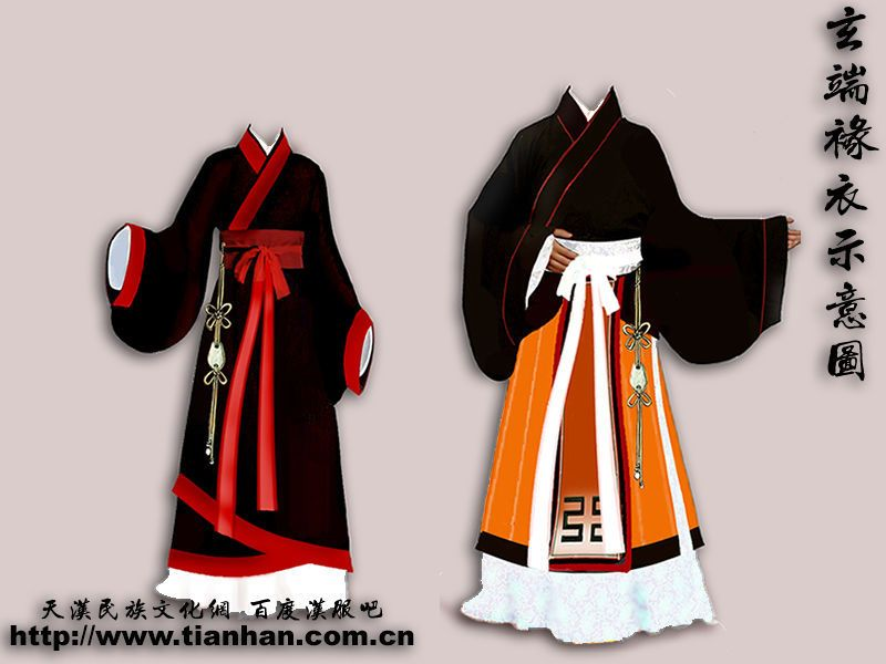 The hanfu, the traditional Chinese garment is very complicated, like the whole Chinese civilization. Here ar the parts of it: Yi (衣): Any open cross-collar garment, and worn by both sexes Pao (袍): Any closed full-body garment, worn only by men in Hanfu Ru (襦): Open cross-collar shirt Shan (衫): Open cross-collar shirt or jacket that is worn over the yi Qun (裙) or chang (裳): Skirt for women and men Ku (褲): Trousers or pants