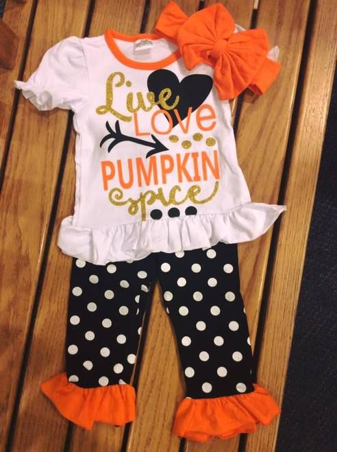 cdb5bda9c Girl's Fall Live Love Pumpkin Spice Boutique Outfit, Pumpkin Spice, Girl's  Clothing, Girl's Boutique Clothing, Girl's Fall Clothing, Toddler Fall  Outfit