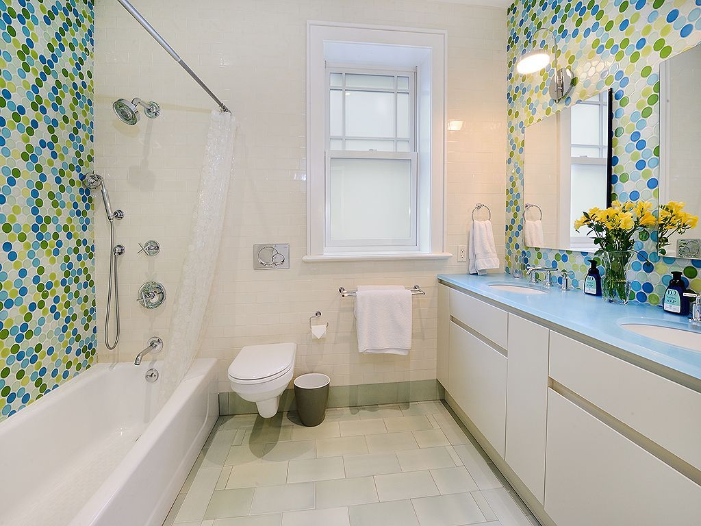 Eclectic Kids Bathroom with tiled wall showerbath, Undermount Sink ...