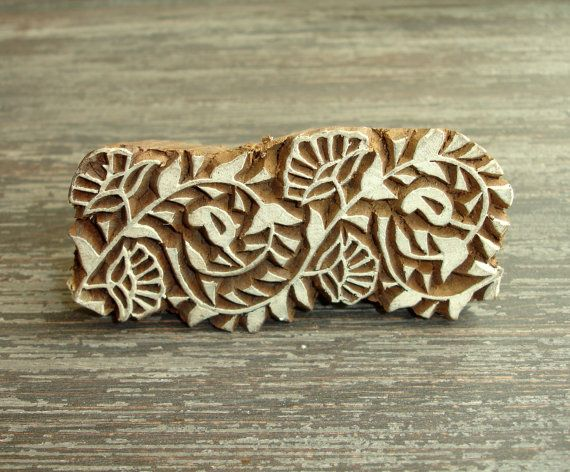 Indian flower stamp hand carved wood continuous