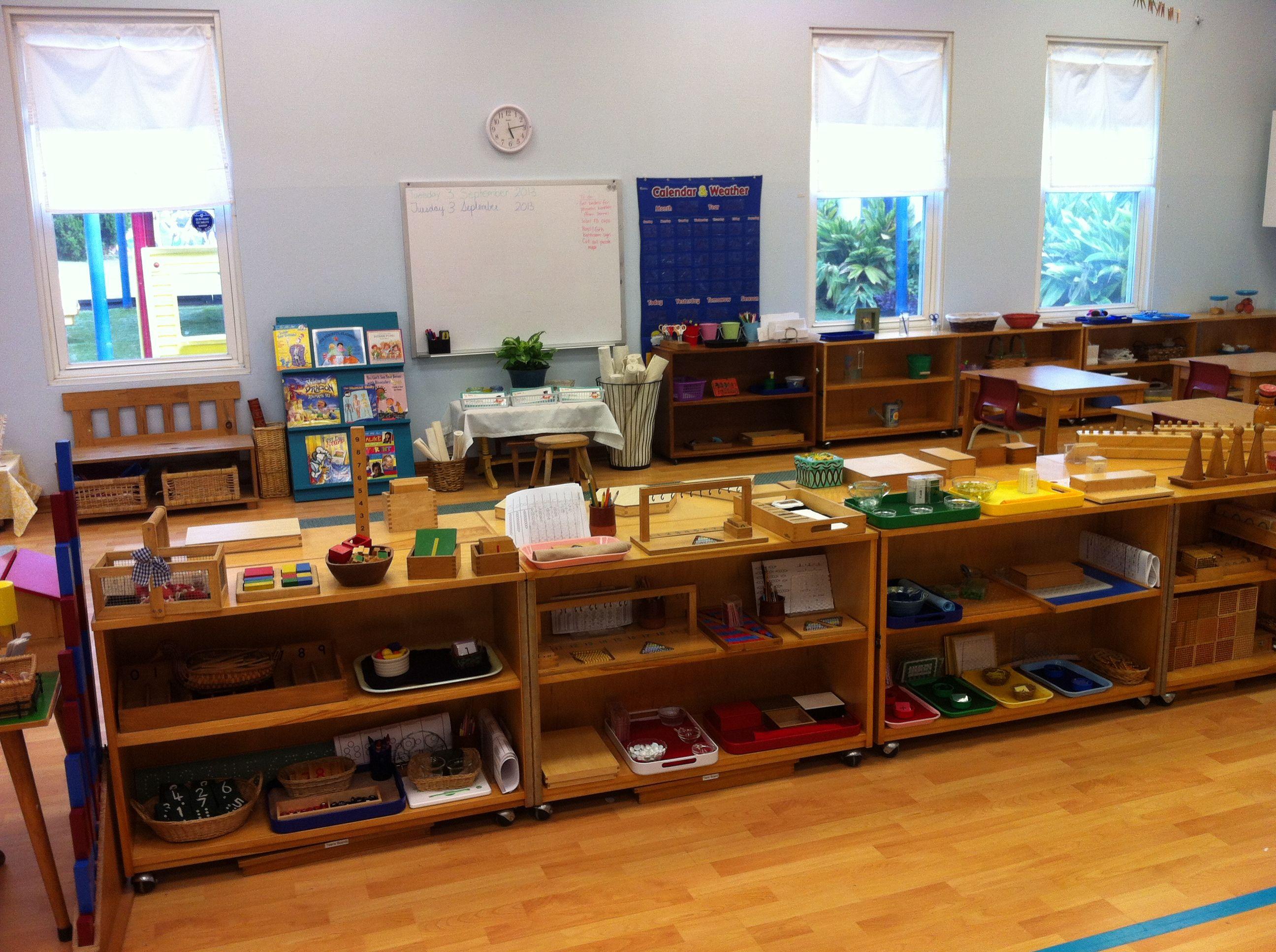 Classroom Design Overview ~ My montessori classroom math shelves overview