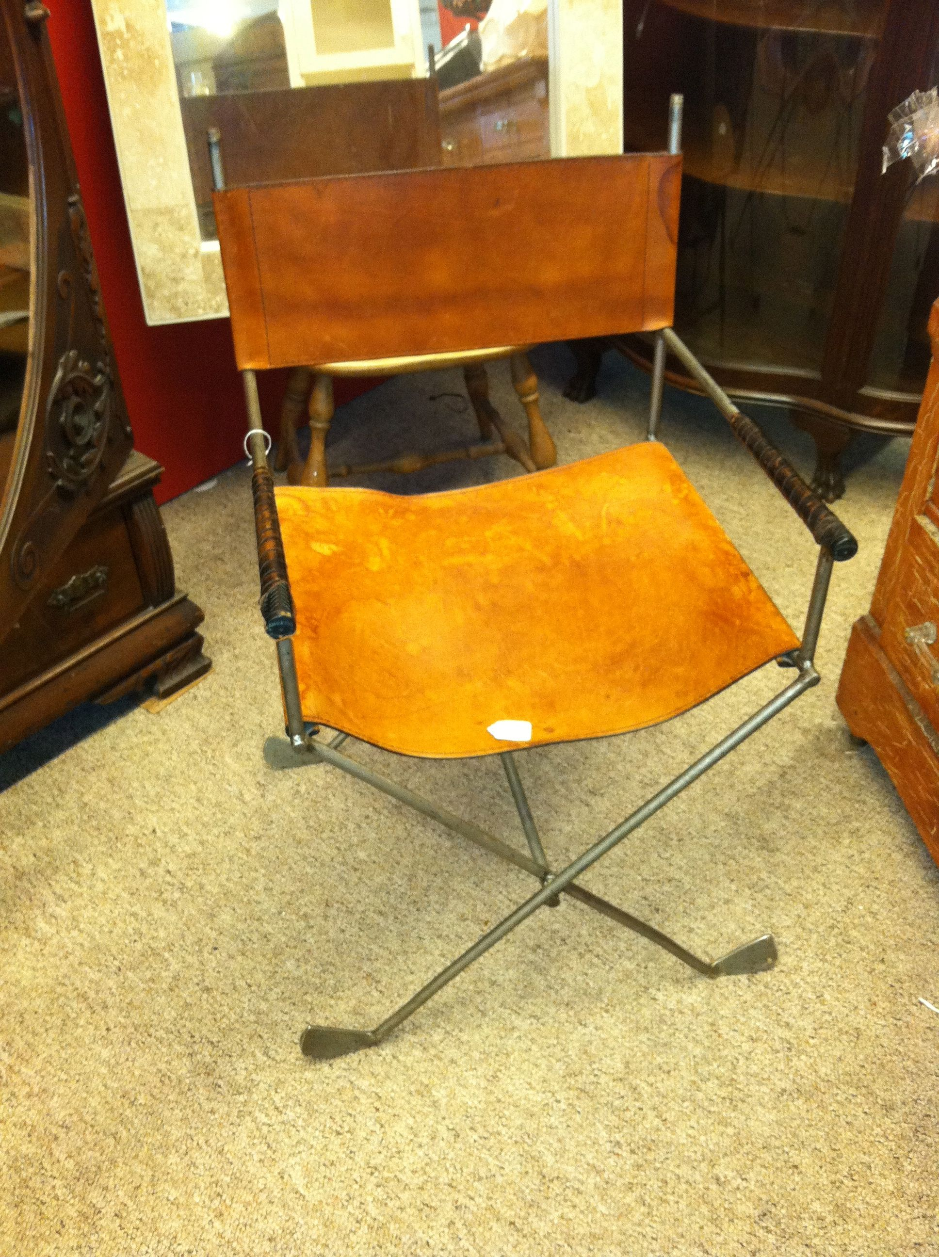 leather directors chair made from old golf clubs would have been