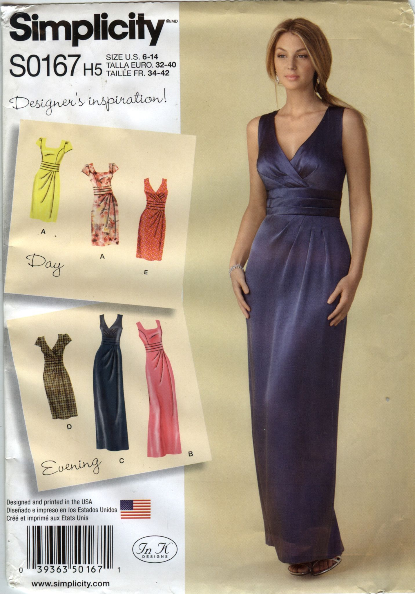 Simplicity 0167 Misses\' Dress in Two Lengths with Bodice Variations