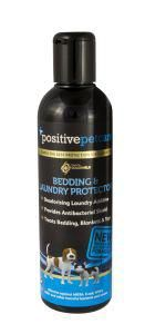 Positive Petcare Bedding & Laundry Protector This product is unique in that it creates a protective shield, actively killing and repelling germs for weeks! It also has the added benefit of leaving laundry fragrant and protected against further odours. This product is safe, the unique formulation does not contain any hazardous aldehydes or chlorine generating components.