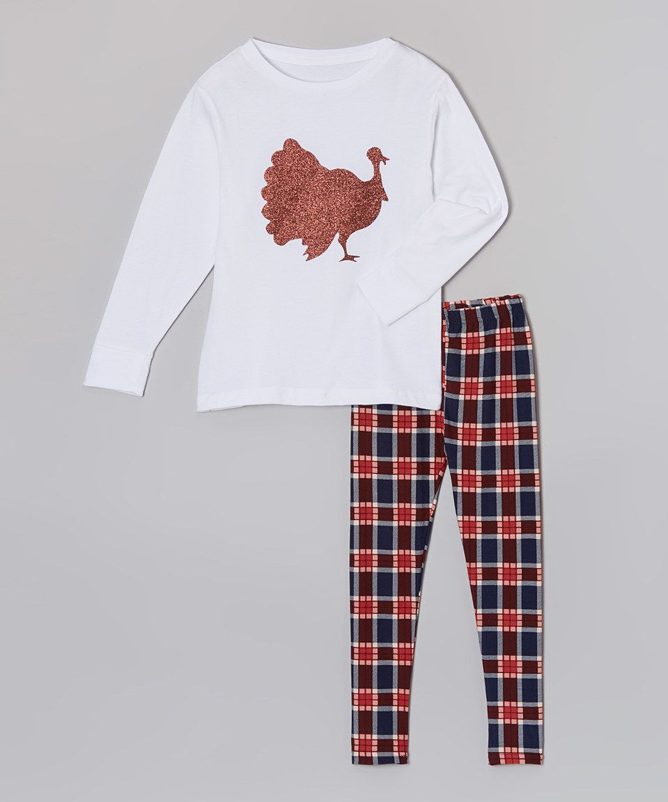 Another great find on #zulily! White Turkey Tee & Burgundy Plaid Leggings - Toddler & Girls by So Girly & Twirly #zulilyfinds