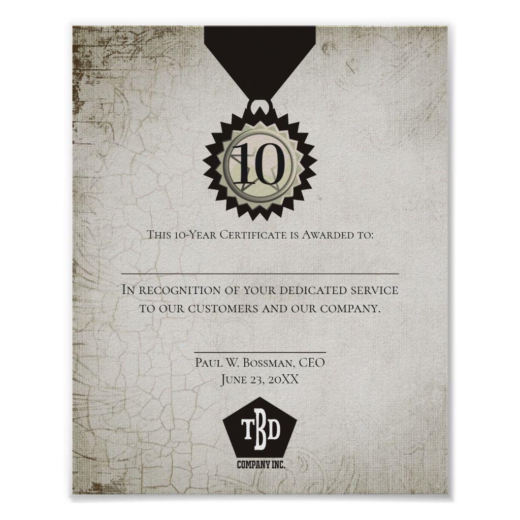 Universal Employee Anniversary Award Certificate Poster