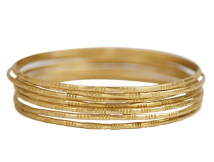 18k Gold Moroccan Bangles Set Of 7 Yellow Gold Bangle